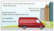 man with van ,  Courier + Light removals